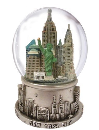 New York City Silver with Colour Snow Globe 65mm -