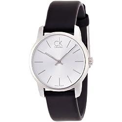 Calvin Klein–Reloj de pulsera analógico para mujer, de cuarzo y piel K2G231C6