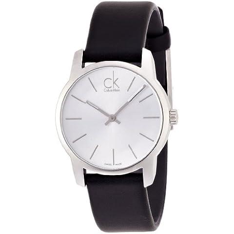 Calvin Klein–Reloj de pulsera analógico para mujer cuarzo piel K2G231C6