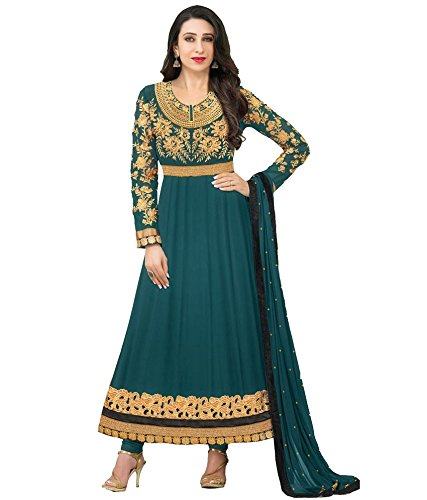 SH Fashion Women Faux Georgette Salwar Suit Sets (Green)