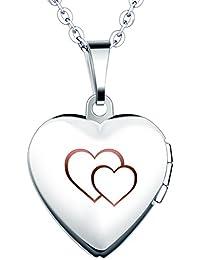 Yumilok Cadena de Acero Inoxidable con Medallón de Corazón Que Se Abre para Poner Una Foto
