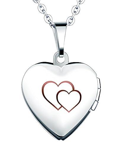 Yumilok Jewelry collier pendentif de photo en acier inoxydable au titane le cœur peut ouvrir et le dessin de cœur double pour femme fille