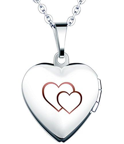 Yumilok Cadena de Acero Inoxidable con Medallón de Corazón Que Se Abre para Poner Una Foto Adentro, en Color Plateado con Rosa o Azul, Collar y Colgante para Mujeres y Chicas