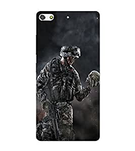 FUSON Soldier With Skull Trophy 3D Hard Polycarbonate Designer Back Case Cover for Gionee Elife S7
