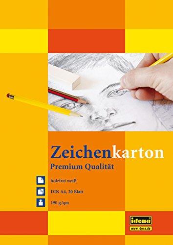 Zeichenkarton, DIN A4, 20 Blatt, 190g/m², holzfrei weiß