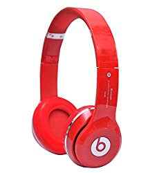 Defloc S460 Bluetooth Wired & Wireless Headphones with TF Card/MIC/FM Support - Red