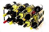Cranville wine racks Classique en bois de pin 15 de la bouteille et galvanisé l'auto-assemblage de support de vin en métal