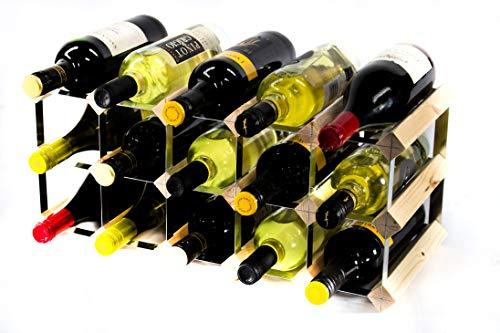 Klassische 15 Flasche Kiefernholz und verzinktem Metall Weinregal Selbstmontage