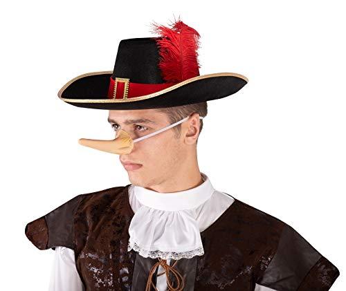 Mousquetaire Kostüm Adulte - Unbekannt P'tit Clown 34950Hut, Filz, Musketierhut, Erwachsene-Schwarz