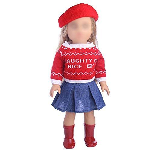 Beetest Vetement Poupee Corolle 3 pcs Chapeau Pull Jupe Robe pour 18 Pouces Fille américaine Notre génération ma Vie poupée Costume Costume vêtements Ensemble poupée Accessoires