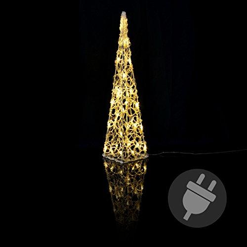 LED Pyramide Lichterkegel - Beleuchtung für Weihnachten innen außen - Acryl-Figur mit Trafo IP44 Timer - 30 Leuchten warm-weiß 60 cm hoch Xmas
