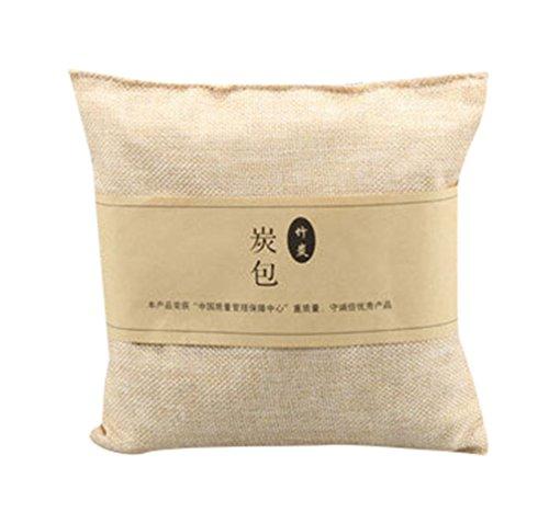 Zhiyuanan Natürliche Luftreinigung Bambus Holzkohle Leinen Tasche Quadratische Holzkohle Geruch Absorber Tasche Bambuskohle Deodorizer für Haus Auto Beige 20*20cm