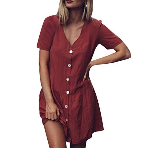 Sommerkleid Damen Elegant Kleider,Frauen Solide V-Ausschnitt Kurzarm Knöpfe Rüschen Saum Baumwolle Und Leinen Minikleid Von Evansamp(Wein,S) -