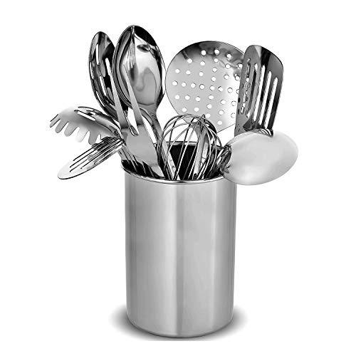 Xelparuc Premium Stilvolles 10-teiliges Küchenhelfer-Set, modernes Edelstahl-Gadgets für den täglichen Gebrauch – Pfannenwender, Spaghetti-Server, Schöpflöffel, Schneebesen, Fleischgabel und Werkzeughalter