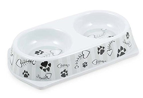 Ancol Grey Stripe Cat Feeding Twin Dish, 180 ml
