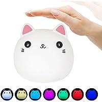 LEDemain - Luz nocturna infantil de silicona con 7colores - Lámpara portátil con forma de gato con control táctil