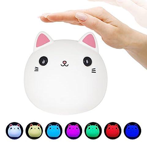 Veilleuse de Nuit Rechargeable, LEDemain Lampe de Chevet Portable en Silicone sous Forme de Chat avec 7 Changement de Couleur