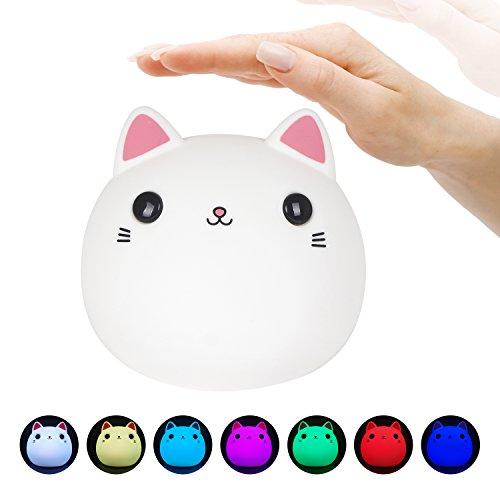 Ledemain luce notturna sensore di movimento funzionamento a batterie lamapada da parete bianco (gatto)