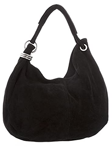 Big Handbag Shop Women Italian Real Suede Leather Large Hobo Shoulder Bag (Black)