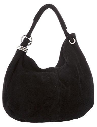 Big Handbag Shop - Borsa a spalla da donna, grande, in vera pelle scamosciata italiana Black (KL182)