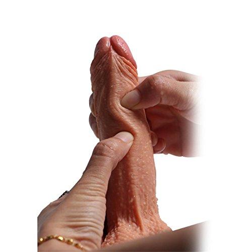 Sex Toys Sex Toys4 pour Femme Peau De Gode Ultra RéAliste comme des Boules De Coq De La Chair De Dong avec La Tasse D'Aspiration 7 Pouces (Jaune)