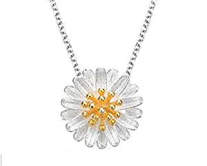 Omos Ladies 925Sterling Silver Sunflower Daisy Cute Short Clavicle Chain Necklace