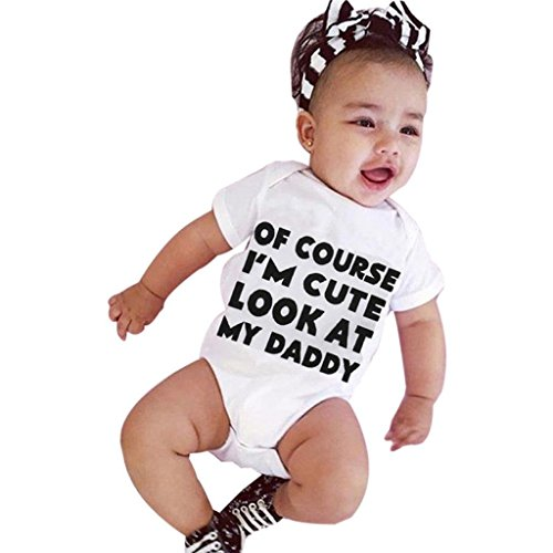 LuckyGirls Baby Romper Short Sleeve Letter OF COURSE I'M CUTE LOOK AT MY DADDY Strampler (3M)