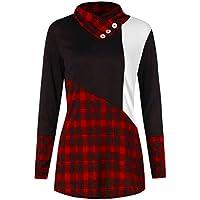 Tefamore Mujer Blusas de Camisas de Manga Larga Tartán Estampado Jumper Jersey Color Block Tops Plus Size