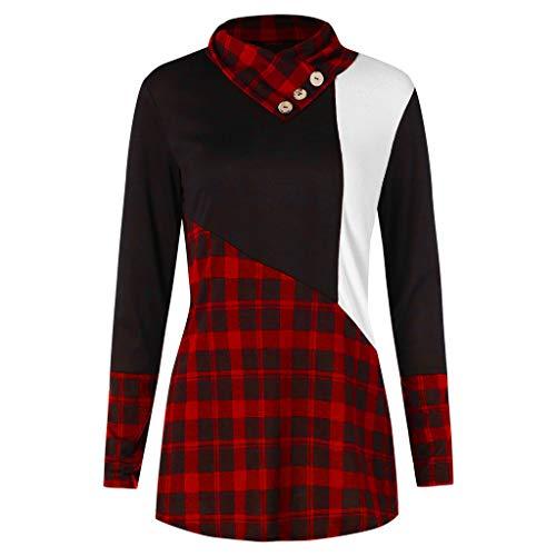 Yvelands Damen Top Langarm Button Kontrast Tartan Pullover Strickwaren ()