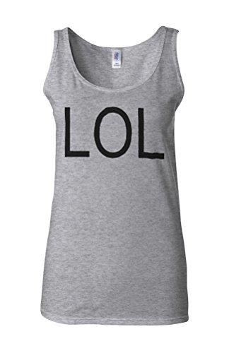 LOL Troll Meme Smiley Novelty White Femme Women Tricot de Corps Tank Top Vest Gris Sportif