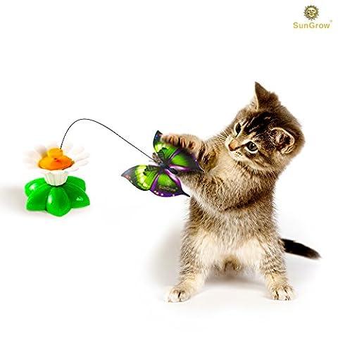 Essoreuse jouet pour chat par Sungrow: Irrésistible rotatifs Papillon: Offre une stimulation ultime et de divertissement pour Cats- Parfait pour High Energy Chatons