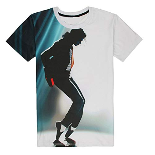 Shuanghao MJ Michael Jackson Space Dance Top Punk Cotton 100% Colorful Tshirt Camisetas Top Casual Camiseta (2XL)