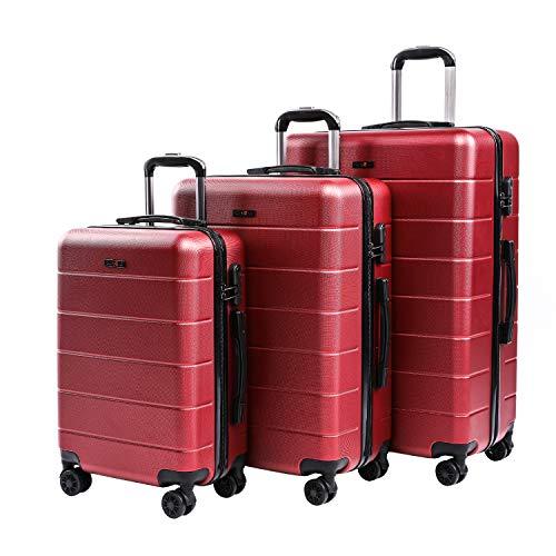 CarryOne Set di Valigie Trolley Rigidi Bagaglio a mano con 4 Rotelle Girevole Set da 3 Pezzi da Viaggio 55cm, 66cm, 76cm(Rosso)