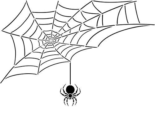 Spider Web Schablone-wiederverwendbar Halloween Day Of The Dead Scary Kinder Wand Schablone-Vorlage, auf Papier Projekte Scrapbook Tagebuch Wände Böden Stoff Möbel Glas Holz usw. Größe S (Spider-tagebuch)