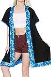 LA LEELA Copricostume Mare Cardigan Donna Taglie Forti- Vintage Rayon Estivo Scialle Elegante Solido Kimono Vestito Corto Estate Boho Tunica Etnica Abito da Spiaggia Nero_X799