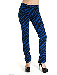 Run & Fly New Womens Skinny Stretch Mid Rise Royal Blue And Black Zebra Jeans