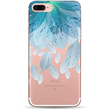 Freessom Coque Iphone 6 6s Silicone Transparente Motif Fleur Bleu Couleur Simple Chic Apple Dessin Drole Kawaii Fine Design Original Fantaisie Anti
