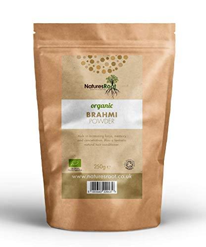 Nature's Root Brahmi en polvo orgánico - Hierbas ayurvédicas | Bacopa Monnieri | Producto para el crecimiento del cabello | Suplemento para el cabello espesante
