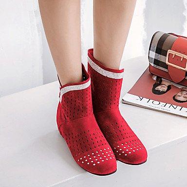 Stivali Donna Comfort Cuoio Inverno Autunno Inverno Abbigliamento Casual Walking Comfort Fibbia Cuneo Heel Ruby Yellow Ruby