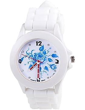 Geneva gedruckt Blumen Weiss Silikon-Band Armbanduhr (Typ 3)