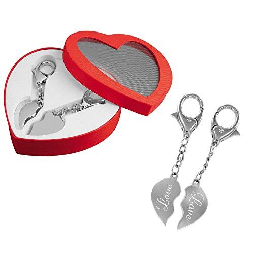 *Partner-Schlüsselanhänger – Ein Herz für zwei – das perfekte Liebes-Geschenk mit Gravur: LOVE*