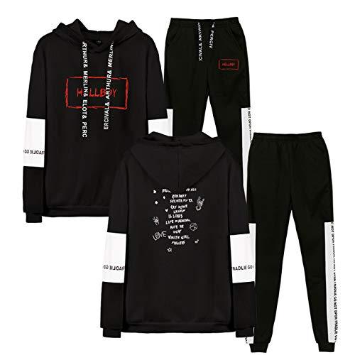 SERAPHY Lil Peep Tops und Hosen Love Angry Girl Hellboy Anzug Freizeitanzug Mode Sport Frühlingskleidung Sommerkleidung-A12613-1-L Lil Girl