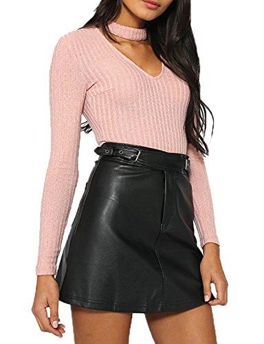 Femmes Décontracté-Shorts Combishort Blouse Playsuit Sexy V Cou Barboteuse Manches Longues Sport Combinaison Top Chemise Rose