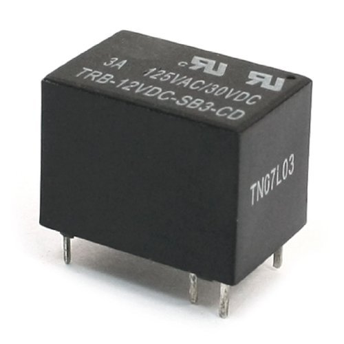 Coil DC 12V 6 Pin Terminal SPDT General Purpose Vermogen Relais Black -