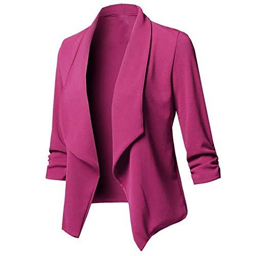 - Knopf-front Blazer Jacke (SoonerQuicker Mantel Damen Herbst Elegant Womens Pure Open Front Cardigan Langarm Blazer Freizeit Jacke Mantel pink XXXL)