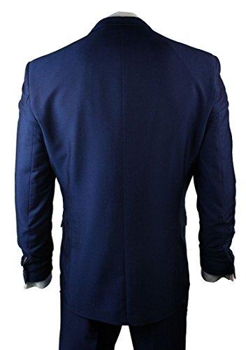 Costume 3pièces pour homme Bleu tonique Coupe étroite normale ou longue Version mariage et fête - Blau Kurz