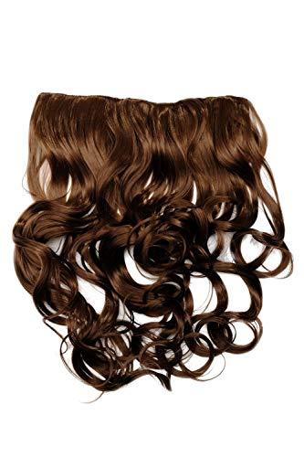 WIG ME UP - Haarteil Clip-In Extension Haarverlängerung breit Hinterkopf 5 Clips lockig Locken hellbraun blond gesträhnt WH5008-180C-12/26