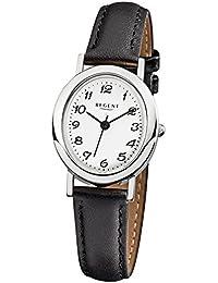 Regent Damen-Armbanduhr Elegant Analog Leder-Armband schwarz Quarz-Uhr Ziffernblatt weiß URF580