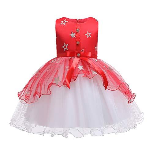 TAAMBAB Mädchen Hochzeit Formelles Kleid Ärmelloses, Geschwollenes Tüllkleid Gesellschaftstanzkleid Kind Prinzessin Brautjungfer Taufe Party Kleider 2-14 Jahre (Kleider Geschwollene Prinzessin)