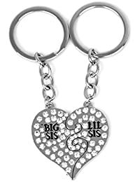 TBOP KEY RING Jewelry Two Stitching BIG LITTLE Good Sister Love Keychain In Silver Color